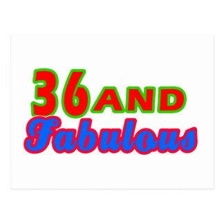 36 and Fabulous Birthday Designs Postcard