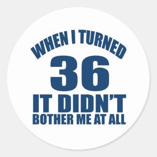 36 Birthday Designs Classic Round Sticker