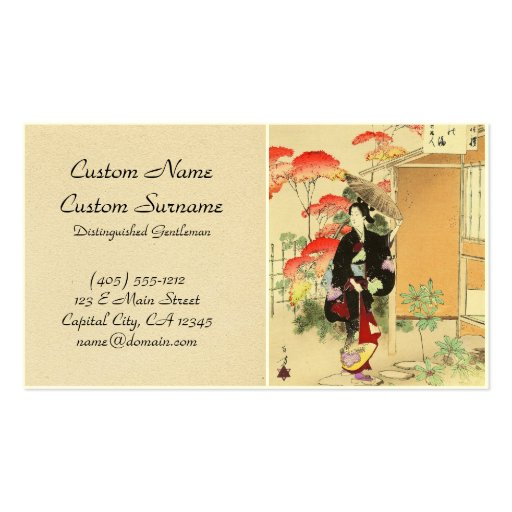 36 Examples of Beauties, Tea ceremony Toshikata Business Card Templates