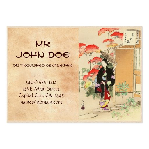 36 Examples of Beauties, Tea ceremony Toshikata Business Card