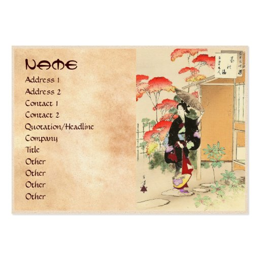 36 Examples of Beauties, Tea ceremony Toshikata Business Cards