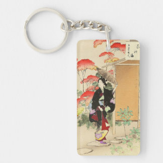 36 Examples of Beauties, Tea ceremony Toshikata Double-Sided Rectangular Acrylic Key Ring