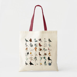 36 Pigeon Breeds Budget Tote Bag