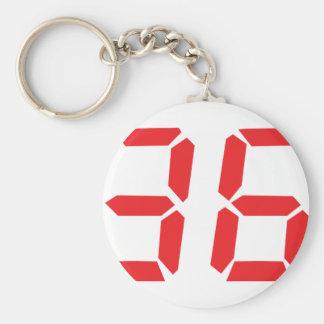 36 thirty-six red alarm clock digital numbr keychain