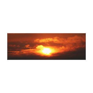 "36"" x 12"" Canvas Deep Orange & Black Sunset Photo"