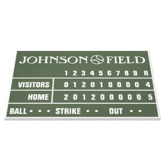 "36"" x 24"" Baseball Scoreboard Wrapped Canvas"