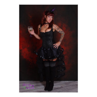 "36"" x 24"" Chrissy Kittens Purple Witch Hat Poster"