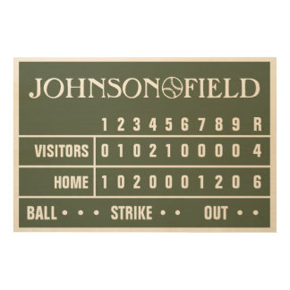 "36"" x 24"" Personalised Baseball Scoreboard Wood Canvases"