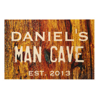 36 x 24 PERSONALIZED MAN CAVE WOOD PRINT WALL ART