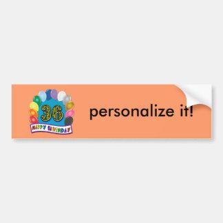 36th Birthday Balloons Design Bumper Sticker