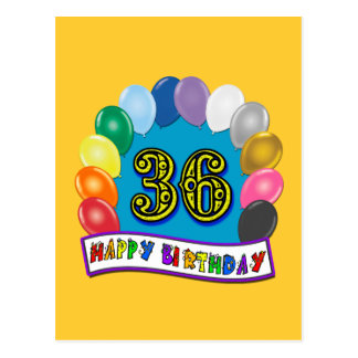 36th Birthday Balloons Design Postcard