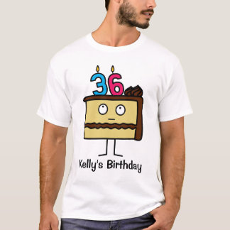 36th Birthday Cake with Candles T-Shirt