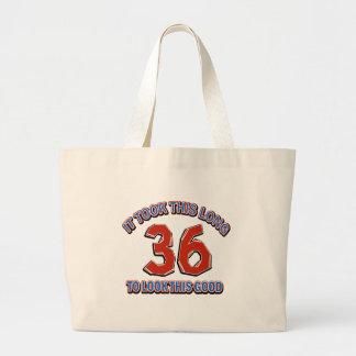 36th birthday design large tote bag