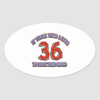 36th birthday design oval sticker