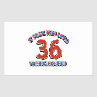 36th birthday design rectangular sticker