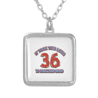 36th birthday design silver plated necklace