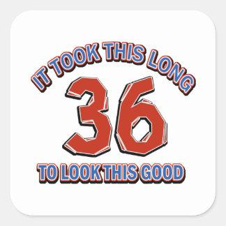 36th birthday design square sticker