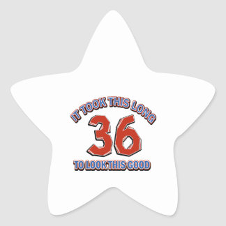 36th birthday design star sticker