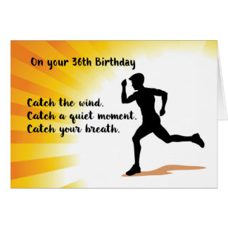 36th Birthday Man Running with Sunburst Background Card