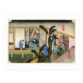 37. 赤坂宿, 広重 Akasaka-juku, Hiroshige, Ukiyo-e Postcard