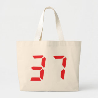 37 thirty-seven red alarm clock digital number bags