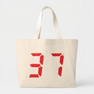 37 thirty-seven red alarm clock digital number jumbo tote bag