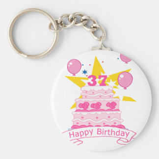 37 Year Old Birthday Cake Basic Round Button Key Ring