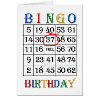 37th Birthday Bingo card