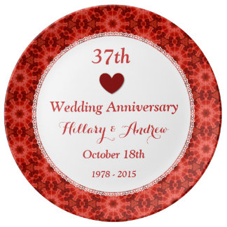 37th Wedding Anniversary CORAL RED Pattern A37A Plate