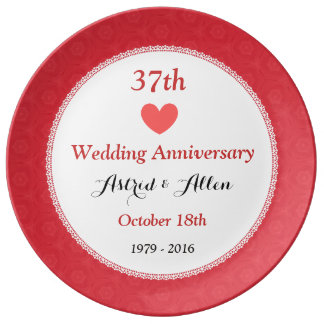37th Wedding Anniversary RED Pattern A36G Plate