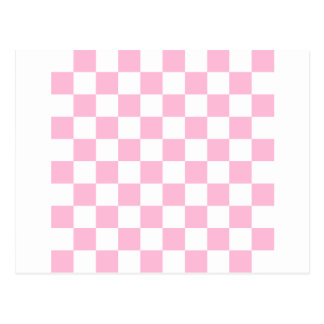 38 - Checkered - White and Cotton Candy Postcard