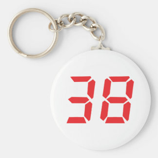 38 thirty-eight red alarm clock digital number basic round button key ring