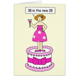 38th birthday age humor, lady on a giant cake. card