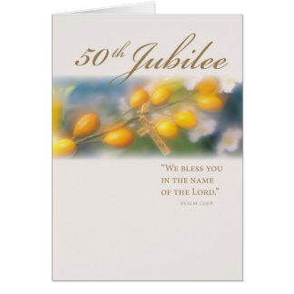 3994_50th Jubilee Cross in Gold Greeting Card