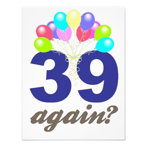 39 Again? Birthday Gifts / Souvenirs Announcements