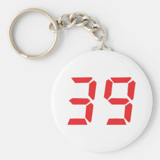 39 thirty-nine red alarm clock digital number basic round button key ring