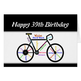 39th Birthday Motivational Bike Bicycle Cycling Card