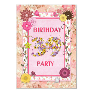 """39th birthday party invitation with floral frame 5"""" x 7"""" invitation card"""