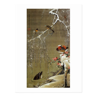 3. 雪中鴛鴦図, 若冲 Mandarin Duck in The Snow, Jakuchū Postcard