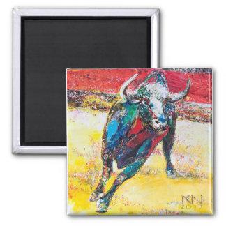 3.1 cm square Magnet Bull