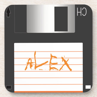 3.5 inch Floppy Disks with Label for Geek Nerds Coaster