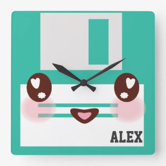3.5 inch Floppy Disks with Label for Geek Nerds Square Wall Clock