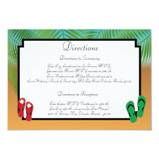 3.5 x 5 Direction Card His/Hers Sandals On Beach p 9 Cm X 13 Cm Invitation Card