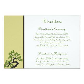 3.5 x 5 Direction Card Japanese Green Bonsai Tree 9 Cm X 13 Cm Invitation Card