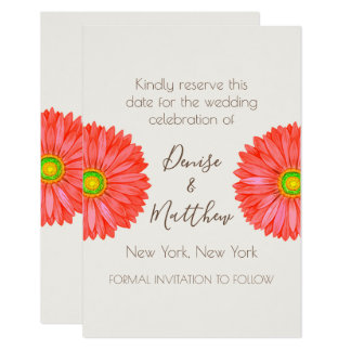 "3.5"" x 5"" Gerbera Daisy Save The Date Card"