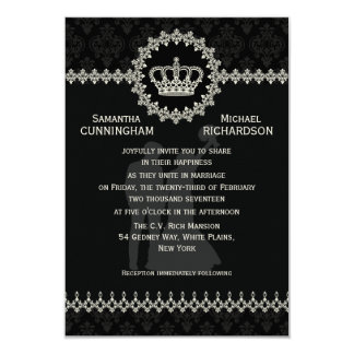 "3.5"" x 5"" Modern Laces Crown Wedding Passport Personalized Invitation"