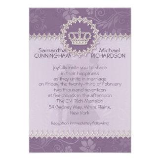 3 5 x 5 Pink Floral Crown Wedding Passport Custom Invitations