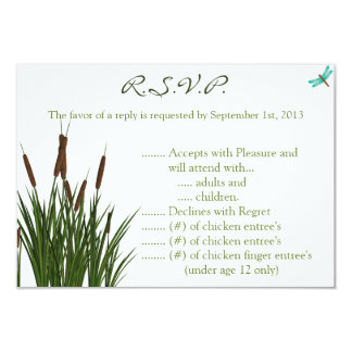 3.5 x 5 R.S.V.P Reply Card Cattail/Dragonfly in Co