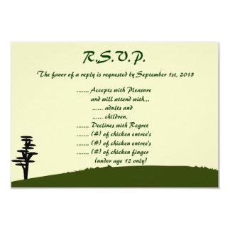 3.5 x 5 R.S.V.P Reply Card Japanese Green Hill Top 9 Cm X 13 Cm Invitation Card