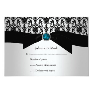 3.5x5 Black Silver Damask Turquoise Jewel RSVP Custom Announcement